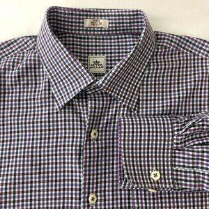 Peter Millar Check Plaid Shirt Purple Blue Large